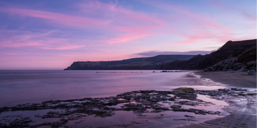 Sunset Over Ravenscar. Taken from Robin Hoods Bay