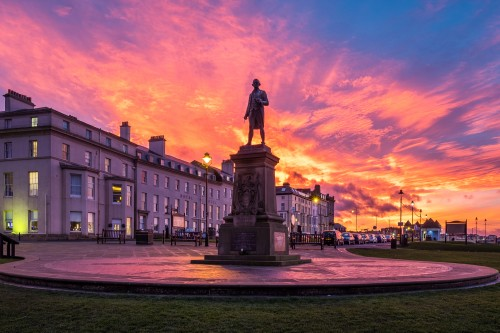 Sunset At Captain Cooks Statue In Whitby North Yorkshire. Captain Cook Sunset - January 2018