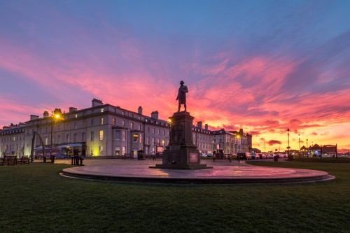 Whitby Sunset Over Captain Cook Statue In January 2018