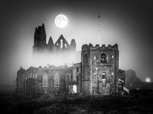 Misty Moon Rising At Whitby Abbey - Square Canvas