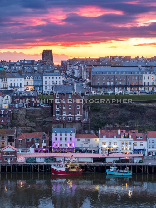Whitby Harbour At Sunset With Magpie View