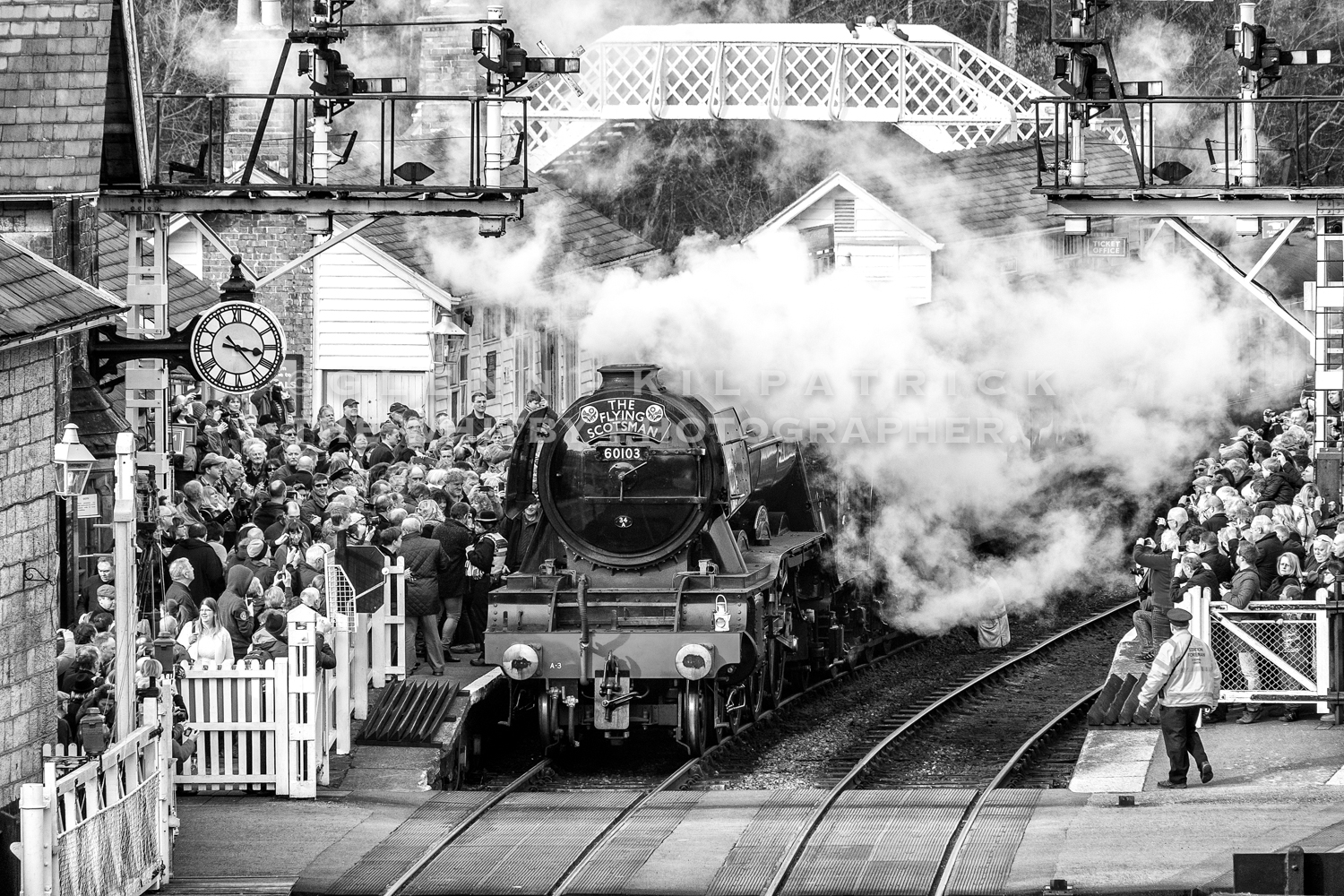 North yorkshire moors railway flying scotsman in black and white