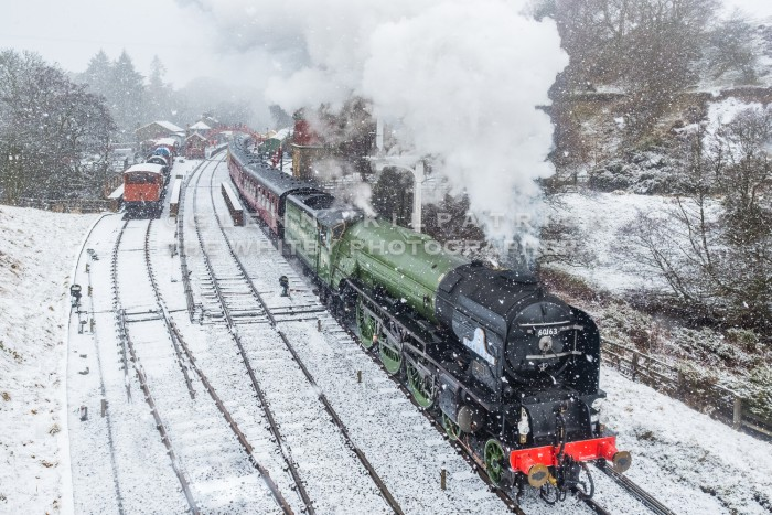 Steam Locomotive Tornado 606130 North York Moors Railway - Photographed In The Snow At Goathland Station