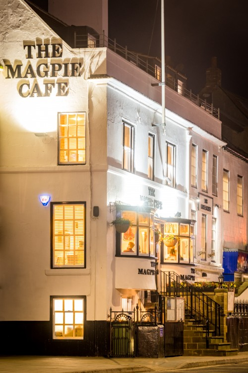 Magpie cafe Pier Road Whitby - A5 Greetings Card By Glenn Kilpatrick The Whitby Photographer ®