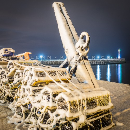Whitby In The Snow, Tate Hill Pier With Snow Covered Anchor
