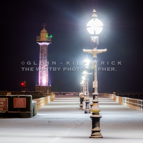 Whitby In The Snow, West Pier Lights
