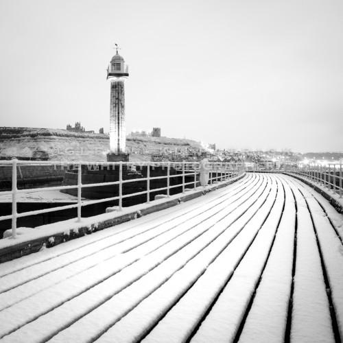 Whitby In The Snow, West Pier In Black And White