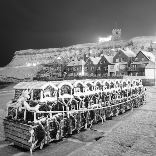 Whitby In The Snow, Tate Hill Crab Pots Covered In Snow