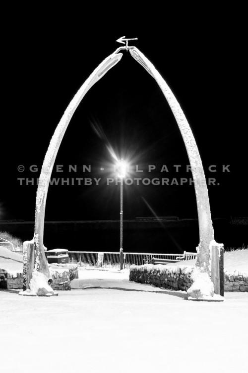 Whitby Whale Bones Snow Scene