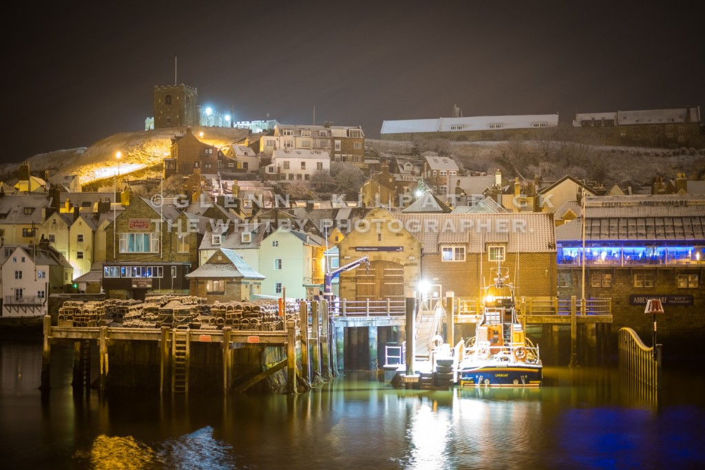 Whitby Lifeboat And East Side - Whitby In The Snow - Snowing At Whitby