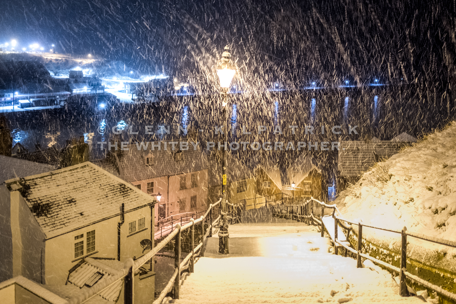 199 Snowy Steps In Colour - Whitby Snow Scenes