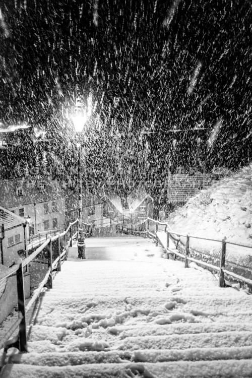 Heavy Snow Falling At 3am On The 199 Steps At Whitby - Photograph By Glenn Kilpatrick - The Whitby Photographer ®