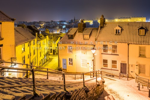 Church Street View from 199 Steps - Whitby In The Snow - Snowing At Whitby