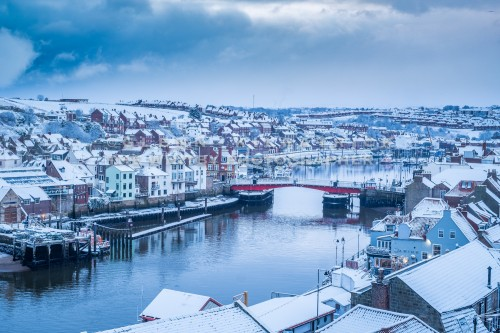 Whitby Harbour Snow Scene - Whitby In The Snow - Snowing At Whitby