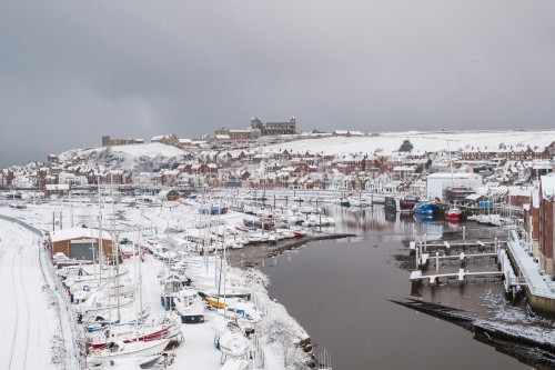 Snow At Whitby - View From New Bridge