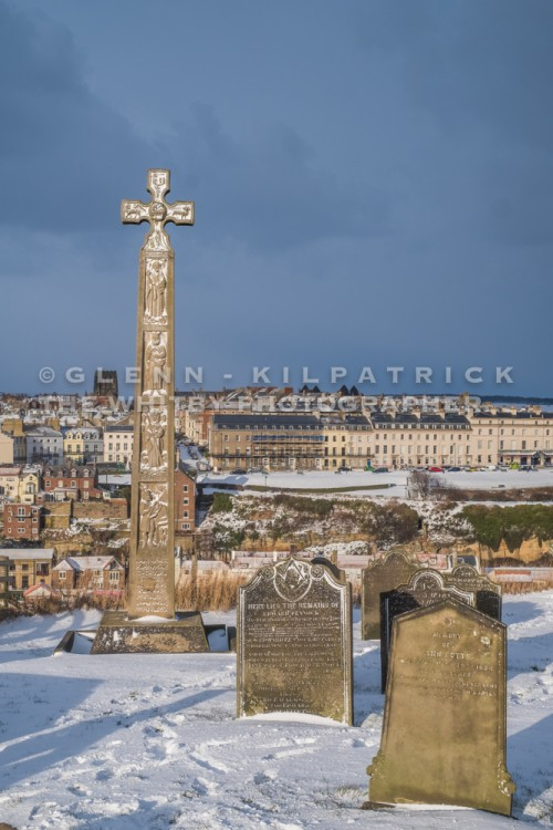 Caedmon's Cross In Whitby - Whitby In The Snow - Snowing At Whitby