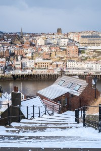 Whitby 199 Steps from The Top - Whitby In The Snow - Snowing At Whitby