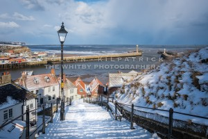 Whitby 199 Steps Daylight - Whitby In The Snow - Snowing At Whitby