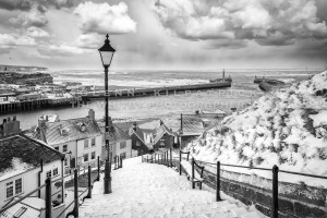 Whitby 199 Steps Black and White - Whitby In The Snow - Snowing At Whitby - A5 Card Plus Envelope