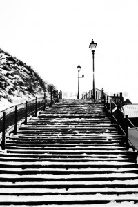 199 Steps Looking Up - Whitby In The Snow - Snowing At Whitby