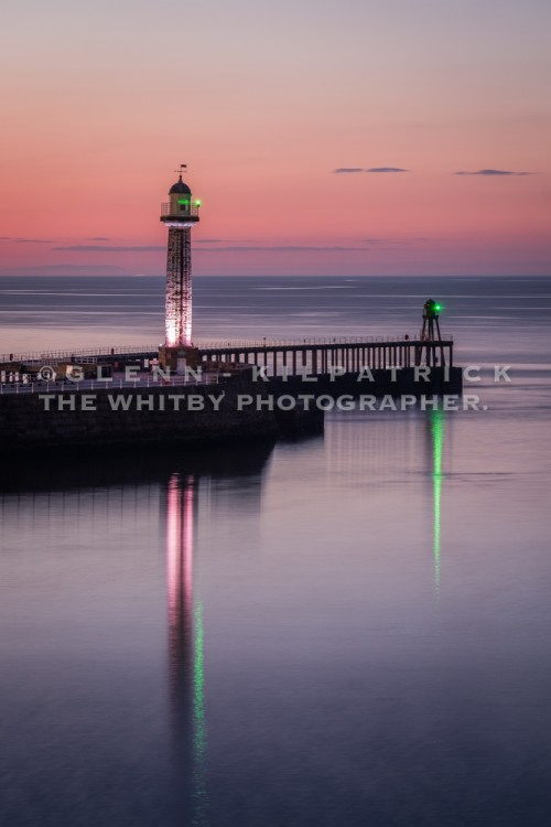 Whitby Piers At Dusk, With Harbour Reflections