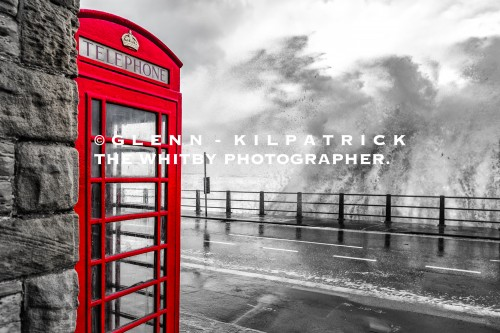 Sandsend Phone Box In Colour Pop Red.