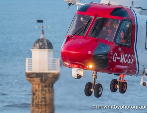 Whitby – Coastguard Helicopter Rescues Two Girls Cut Off By Tide.
