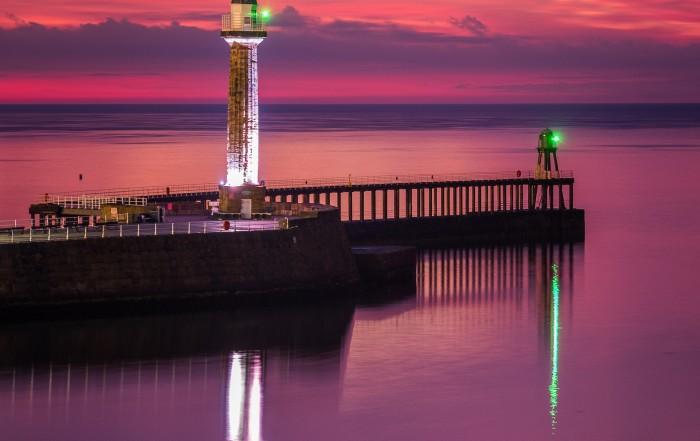 Whitby Piers Sunset And Reflections Coasters