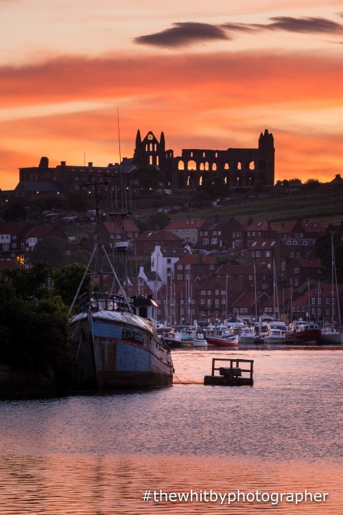 Sunrise at Whitby Harbour. Taken from the riverside path at Coates Marine.