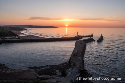 Midsummer Sunset Into The Sea At Whitby (Landscape)