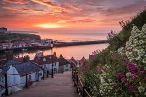 199 Steps Summer Sunset With Vibrant Flowers