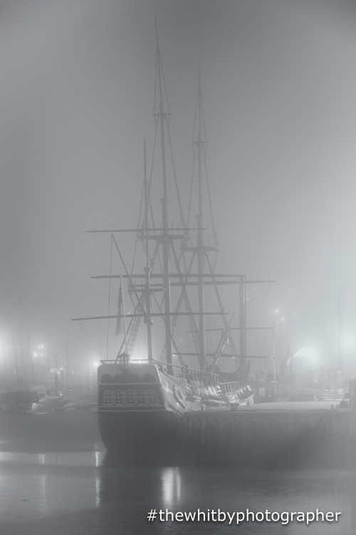 Captain Cooks Endeavour At Whitby On A Misty Night