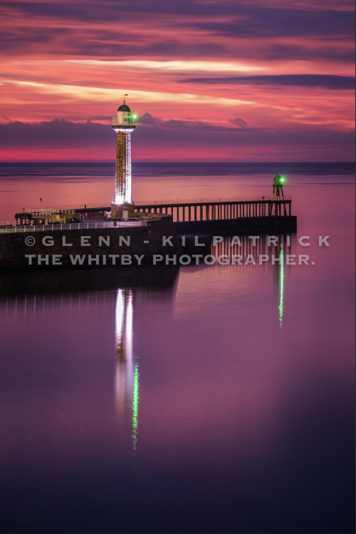 The Perfect Reflection - Whitby Piers Sunset