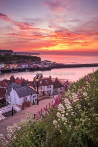 Whitby 199 Steps Sunset With Beautiful Flowers