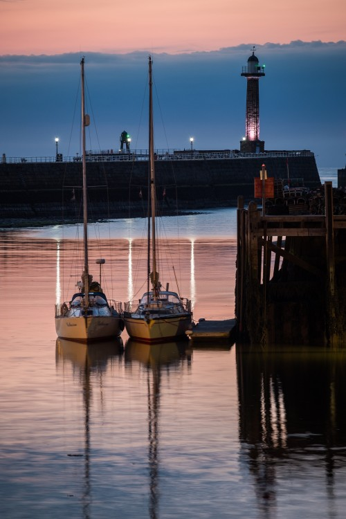 Whitby Harbour At Twilight With Yachts At Fish Pier
