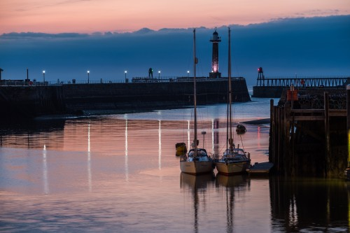 Whitby Harbour Sunset / Twilight Scene With Two Yachts At The Fish Pier