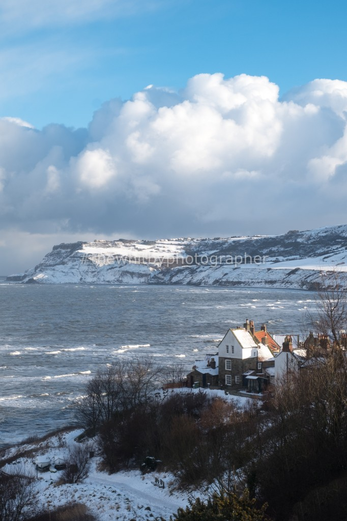 Robin Hoods Bay In The Snow - Portrait Photograph