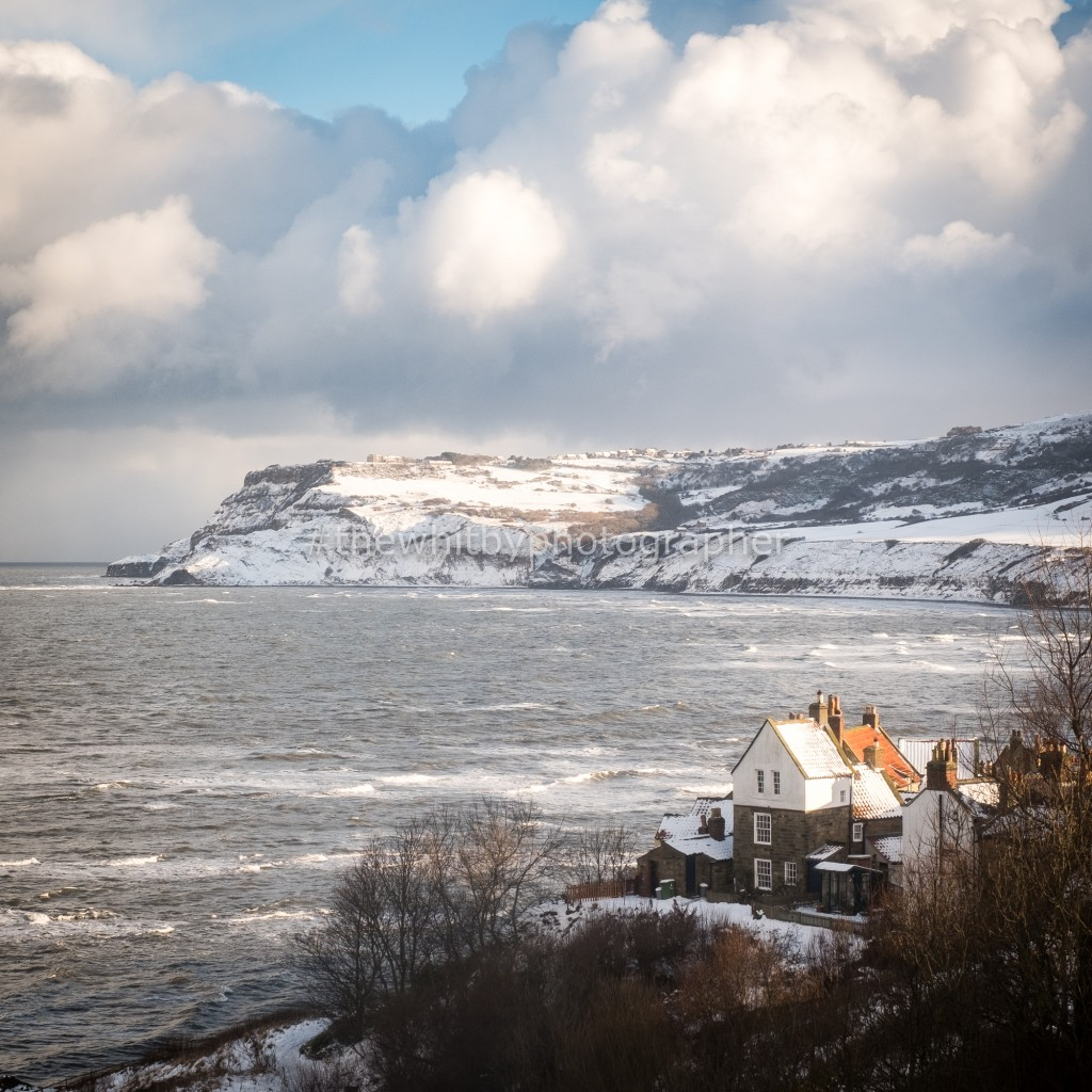 Robin Hoods Bay In The Snow - Square Canvas