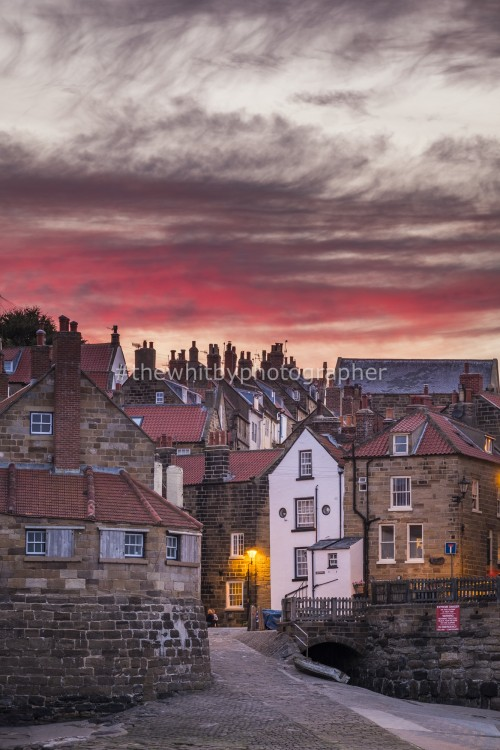 Yorkshire Village, Robin Hoods Bay At Sunset