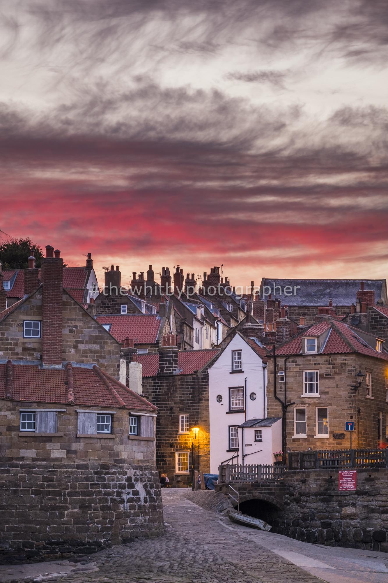 Yorkshire Village, Robin Hoods Bay At Sunset
