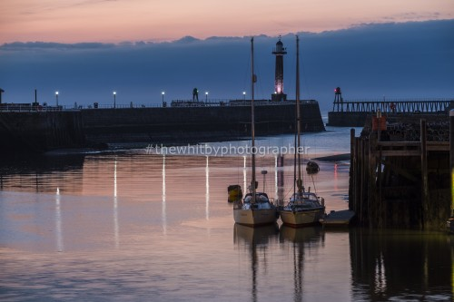 Two Yachts moored in Whitby Harbour, Whitby Fish Pier Yachts (Landscape)