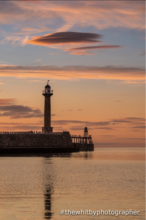 Whitby Pier Sunset From Tate Hill Beach