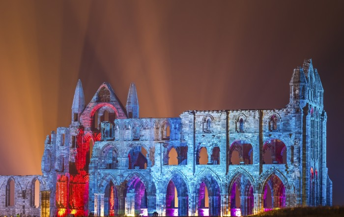 Whitby Abbey Coasters - Illuminated Abbey In Orange