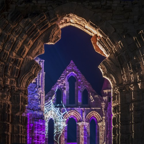 Whitby Abbey Coasters. Illuminated Whitby Abbey