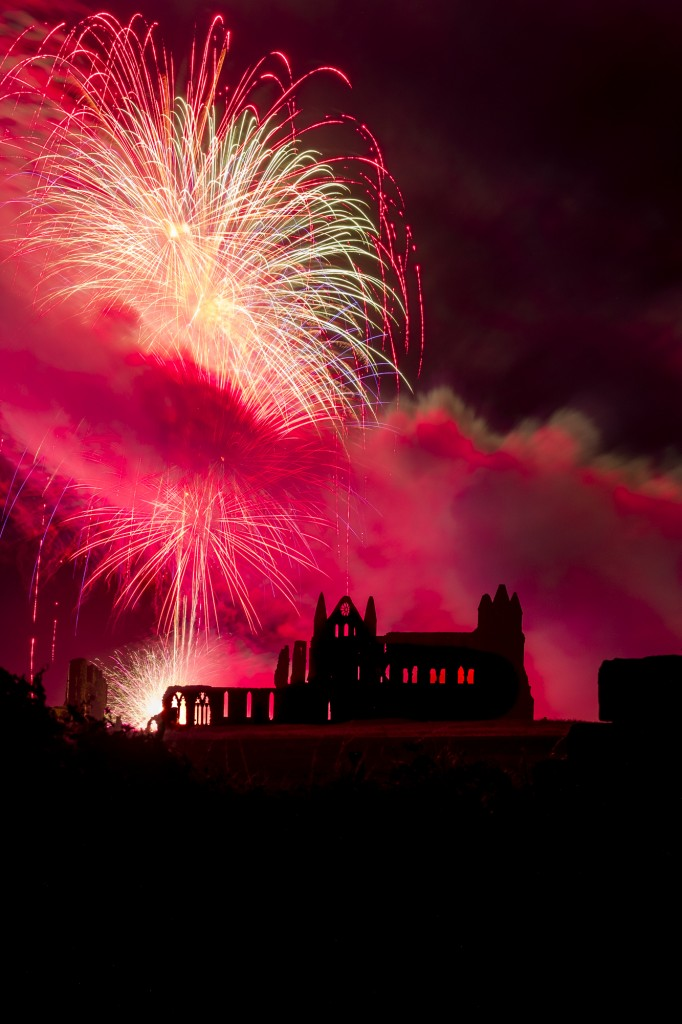 Whitby Regatta Fireworks Over Whitby Abbey In Red