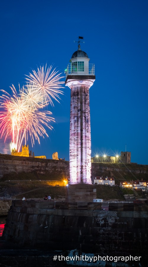 Whitby Fireworks Phone Case. Fireworks over Whitby Abbey with Whitby West Pier Lighthouse In the Foreground. A Beautiful Phone Case