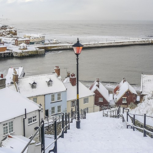 Whitby In The Snow - Set Of Six Coasters - 199 Steps Snow Scene