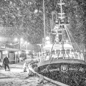 Whitby In The Snow - Set Of Six Coasters - Trawler In Blizzard