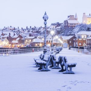 Whitby In The Snow - Set Of Six Coasters - Early Morning Snow On West Pier