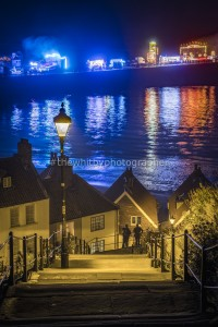 Whitby 199 Steps With Regatta Lights In Background